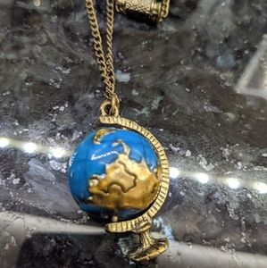 Adorable Spinning Globe Necklace